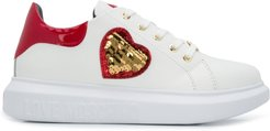 heart-patch chunky trainers - White