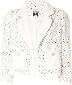 cropped tweed jacket - White