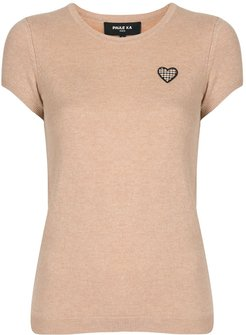 heart-patch knitted top - Brown
