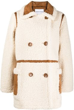 shearling double-breasted coat - White