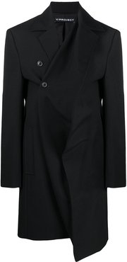 cross front single breasted coat - Black