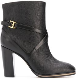 side buckle ankle boots - Black