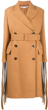 fringed-sleeve double-breasted wool coat - Brown
