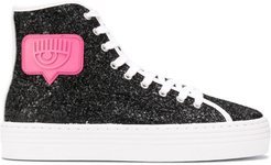 glitter high-top trainers - Black