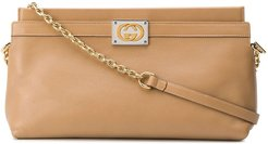 GG logo plaque clutch bag - Neutrals