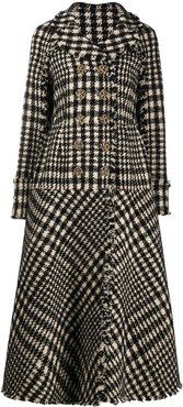 double breasted check A-line coat - White