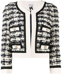 cropped tweed jacket - Black