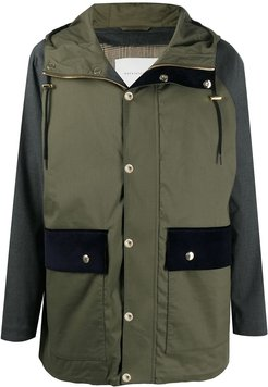 panelled hooded parka - Green