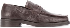 embossed logo loafers - Brown