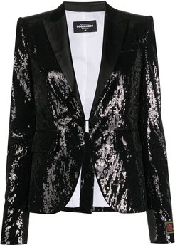 sequin embroidered fitted blazer - Black