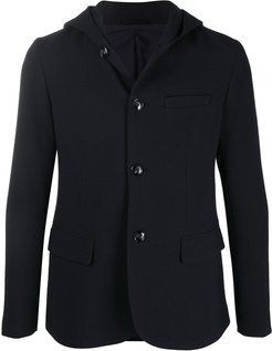 hooded single breasted blazer - Blue