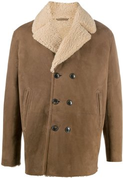 double-breasted shearling coat - Neutrals