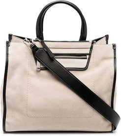 contrast-trimmed tote bag - Neutrals