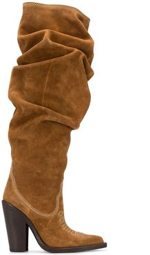 crushed Western style knee-high boots - Brown