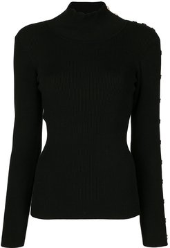 embossed button sleeve jumper - Black