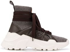 high-top wraparound sneakers - Brown