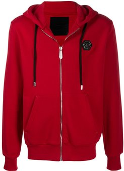 zipped cotton hoodie - Red