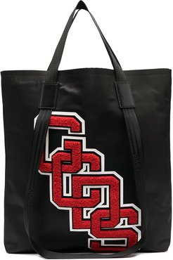 contrast logo patch tote - Black