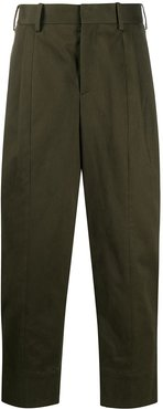 one-pleat loose trousers - Green
