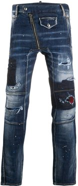 distressed-effect skinny-fit jeans - Blue