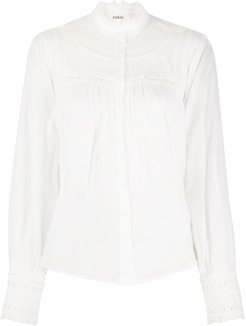 Leaf embroidered cotton shirt - White