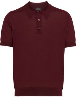 knitted polo shirt - Red