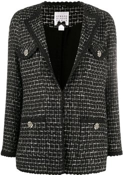 bouclé tweed blazer - Black