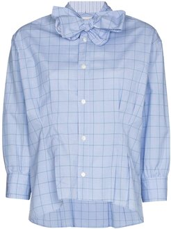 bow-tie check-pattern shirt - Blue