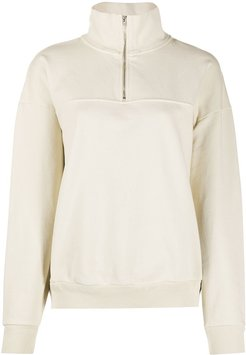 half-zip long-sleeved jumper - Neutrals