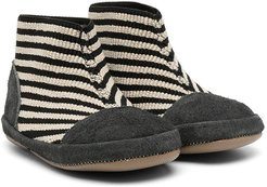 striped ankle boots - White