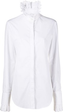 lace-trimmed stand collar shirt - White