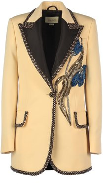 Chrystal Insert Logo Button And Floral Decoration Jkt/ Gioiello Rever Lancia