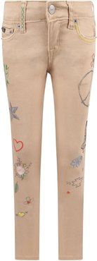 Beige Jeans For Girl With Colorful Prints And Writing
