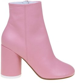 Pink Leather Ankle Boot