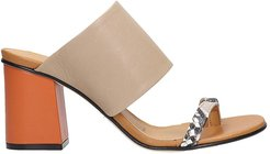 Sandals In Taupe Leather
