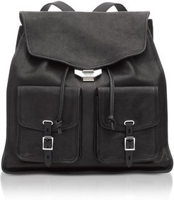 Black Leather Field Backpack