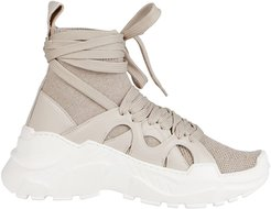 Beige Cashmere And Leather Sneakers