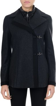 Blue Wool And Cashmere Double Breast Coat
