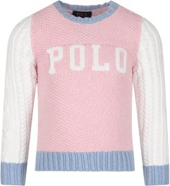 Pink, White And Light Blue Girl Sweater With Logo