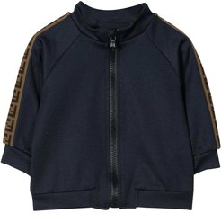 Blue Sweatshirt With Zip And Side Bands With Logo