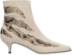 High Heels Ankle Boots In Beige Suede