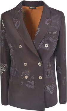 Leaf Print Double-breasted Blazer