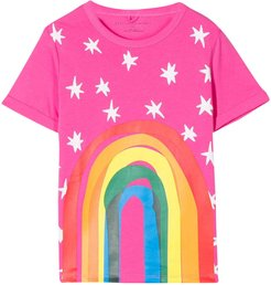 Pink T-shirt With Multicolor Press