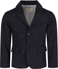 Blue Boy Jacket With Green Double Gg