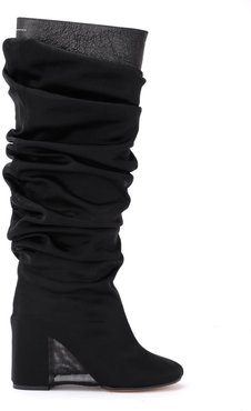 Boot In Black Leather With Sheer Covering