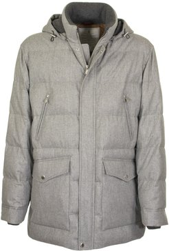 Water-resistant Lightweight Wool, Silk And Cashmere Flannel Down Jacket With Detachable Hood Grey