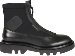 Panelled Leather Combat Boots