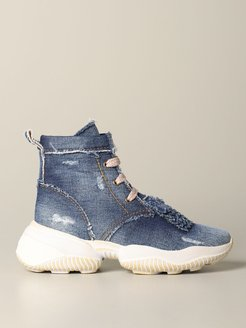 Sneakers Interaction Hogan Polish Sneakers In Fringed Denim