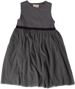 Gray Dress With Tulle Skirt