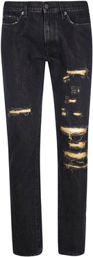Gold Lurex Slim Jeans